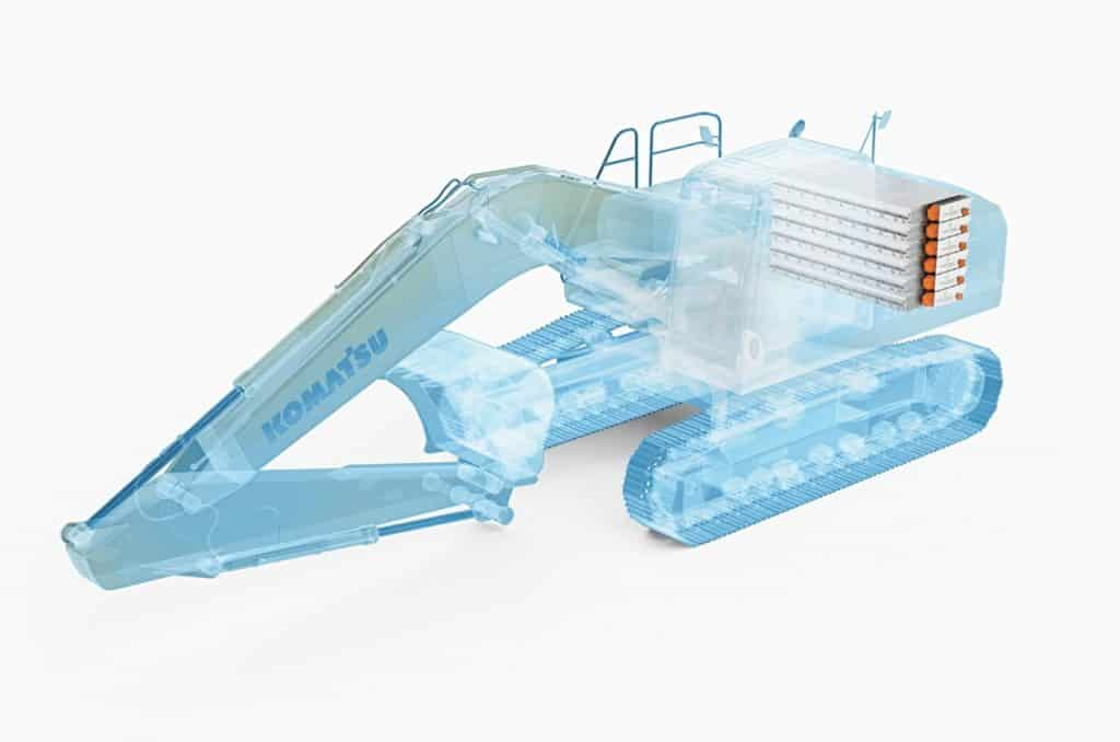 Elektrisk Komatsu gravemaskin, batteri som energikilde