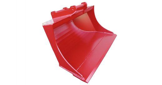 rød pusseskuff til gravemaskin, minigraver og traktorgraver